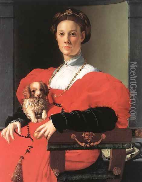 Portrait Of A Lady With A Puppy Oil Painting - Agnolo Bronzino