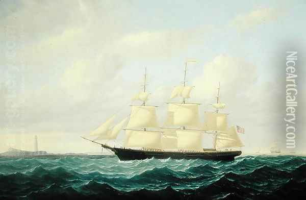 'Dashing Wave' clipper ship off Boston Light, 1855 Oil Painting - William Bradford