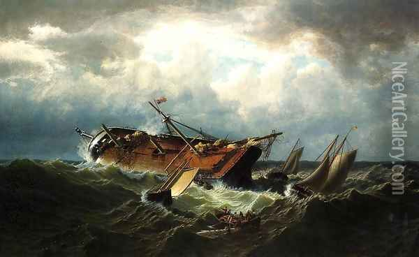 Shipwreck Off Nantucket (Wreck Off Nantucket After A Storm) Oil Painting - William Bradford