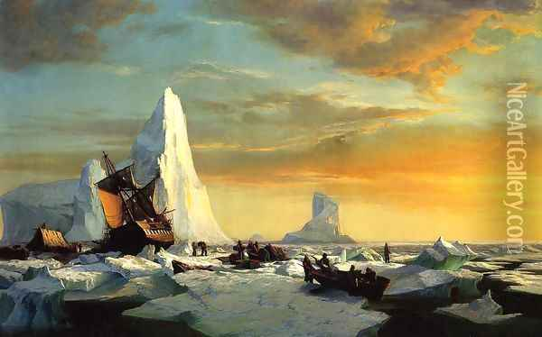 Whalers Trapped by Arctic Ice Oil Painting - William Bradford