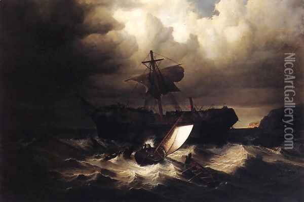 Wreck of an Immigrant Ship off the Cost of New England Oil Painting - William Bradford