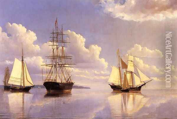 The Kennebec River, Waiting for Wind and Tide Oil Painting - William Bradford