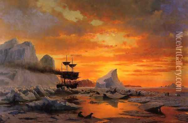 Ice Dwellers, Watching the Invaders Oil Painting - William Bradford