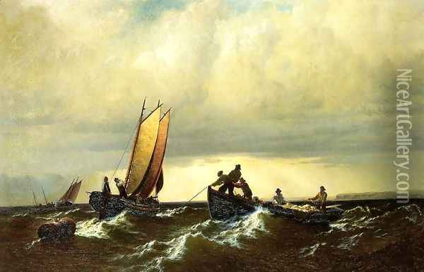 Fishing Boats on the Bay of Fundy I Oil Painting - William Bradford