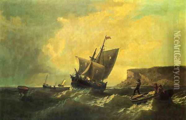 Fishermen in an Approaching Storm Oil Painting - William Bradford