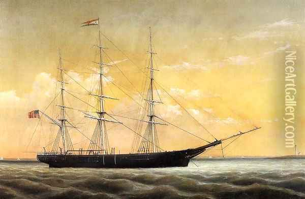 Whaleship 'Jireh Perry' off Clark's Point, New Bedford Oil Painting - William Bradford