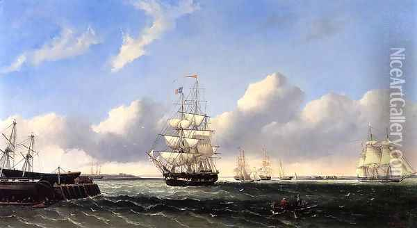 The Port of New Bedford from Crow Island Oil Painting - William Bradford