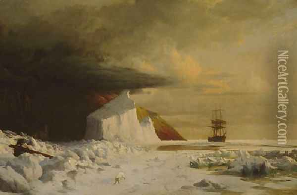 An Arctic Summer: Boring Through the Pack in Melville Bay Oil Painting - William Bradford