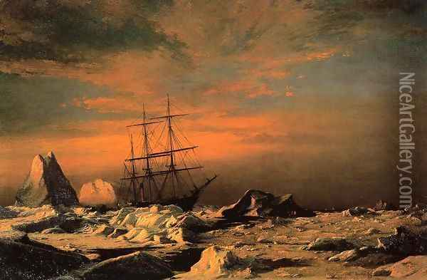 The 'Panther' among the Icebergs in Melville Bay Oil Painting - William Bradford