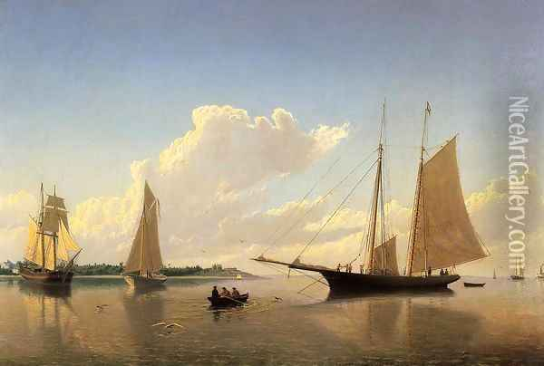 Stowing Sails off Fairhaven Oil Painting - William Bradford