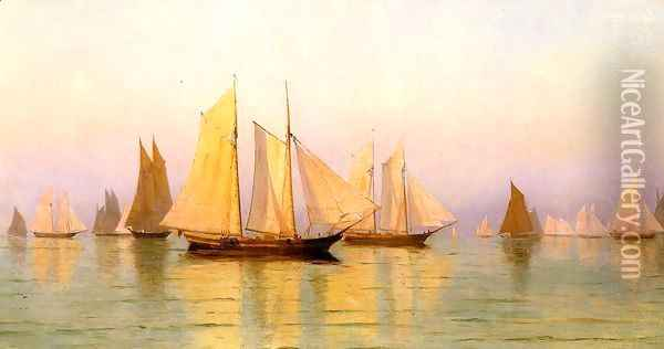 Sloops and Schooners at Evening Calm Oil Painting - William Bradford