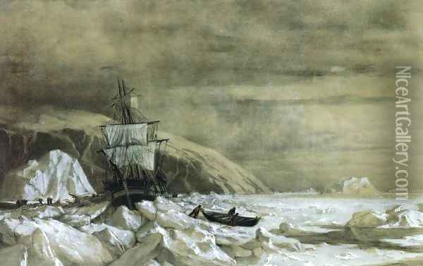 Locked In - Baffin Bay Oil Painting - William Bradford