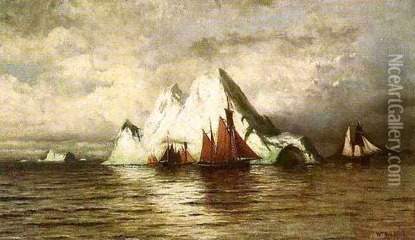 Fishing Boats and Icebergs Oil Painting - William Bradford