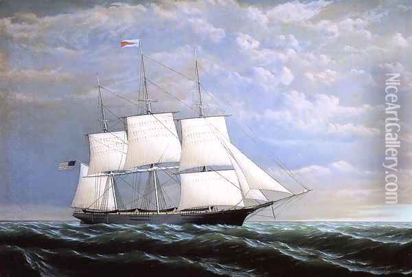 Whaleship 'Syren Queen' of Fairhaven Oil Painting - William Bradford