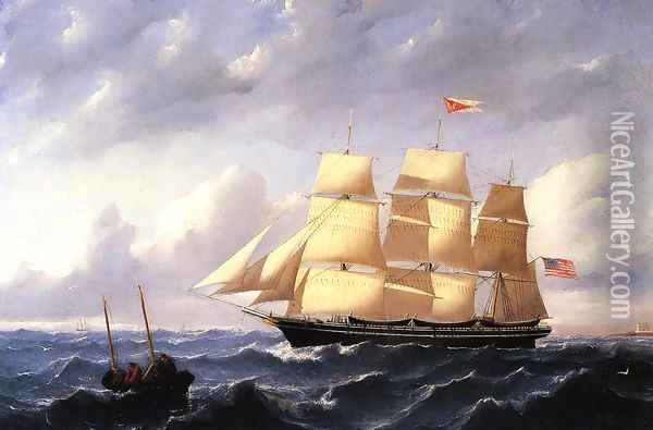 Whaleship 'Twilight' of New Bedford Oil Painting - William Bradford