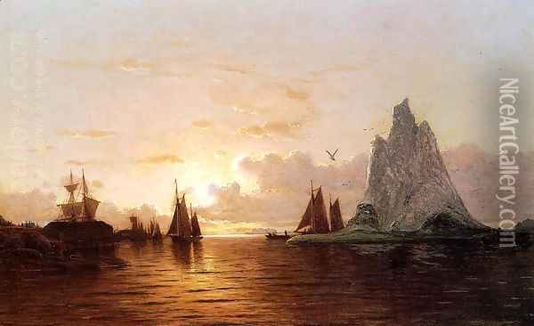 Sunset at the Strait of Belle Isle Oil Painting - William Bradford