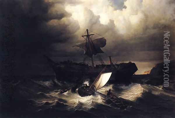 The Wreck of an Emigrant Ship on the Coast of New England Oil Painting - William Bradford