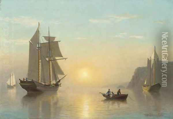 Sunset Calm in the Bay of Fundy 2 Oil Painting - William Bradford