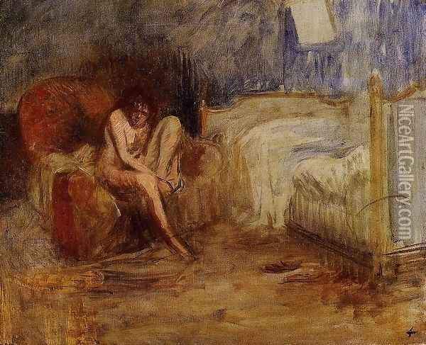 Getting out of Bed Oil Painting - William Bradford
