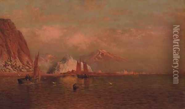 Labrador Mountain and Icebergs by Light of the Midnight Sun Oil Painting - William Bradford