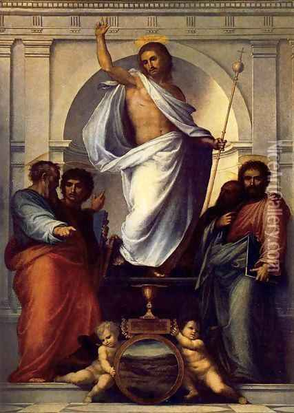 Christ With The Four Evangelists 1516 Oil Painting - Fra Bartolomeo