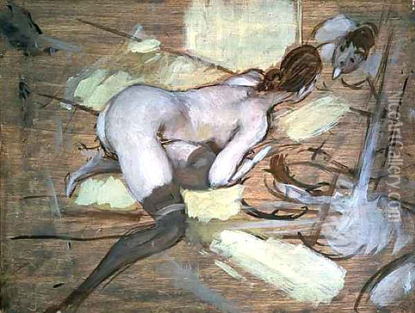Nude Woman reclining on Yellow Cushions Oil Painting - Giovanni Boldini