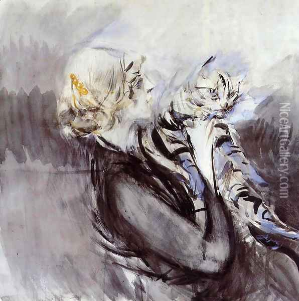 A Lady With A Cat Oil Painting - Giovanni Boldini
