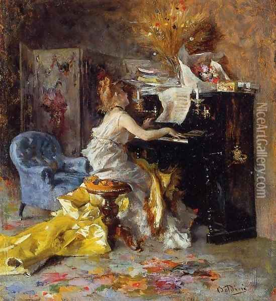 Woman At A Piano Oil Painting - Giovanni Boldini