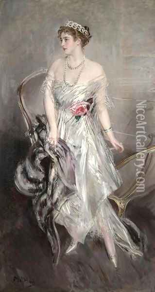 Princess Anastasia of Greece (Mrs Leeds) Oil Painting - Giovanni Boldini
