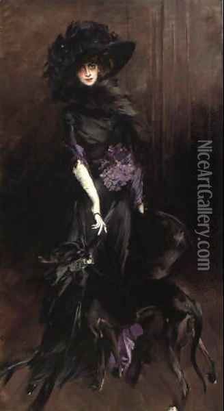 Portrait of Marchesa Luisa Casati with a greyhound 1908 Oil Painting - Giovanni Boldini