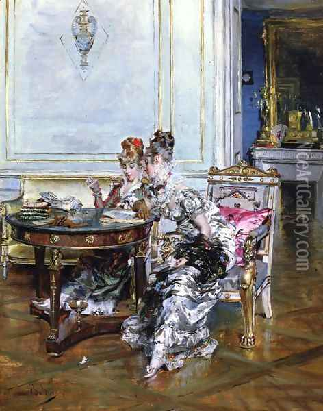 Confidences Oil Painting - Giovanni Boldini