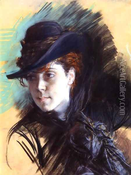 Girl In A Black Hat Oil Painting - Giovanni Boldini