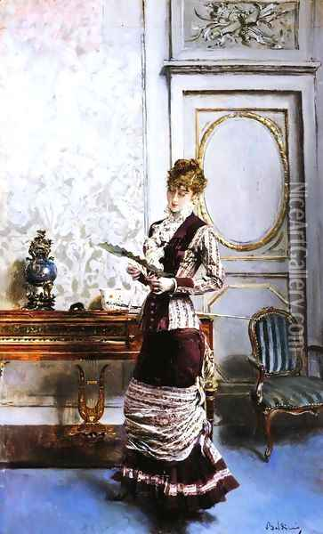 A Lady Admiiring a Fan Oil Painting - Giovanni Boldini