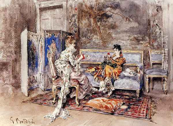 The Conversation Oil Painting - Giovanni Boldini