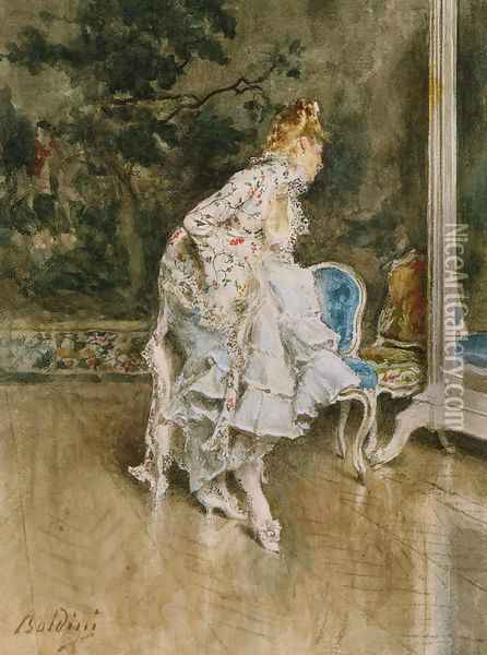 The Beauty Before The Mirror Oil Painting - Giovanni Boldini