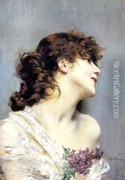 Profile Of A Young Woman Oil Painting - Giovanni Boldini