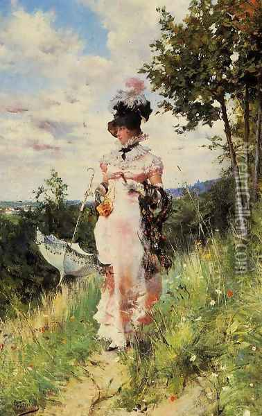 The Summer Stroll Oil Painting - Giovanni Boldini
