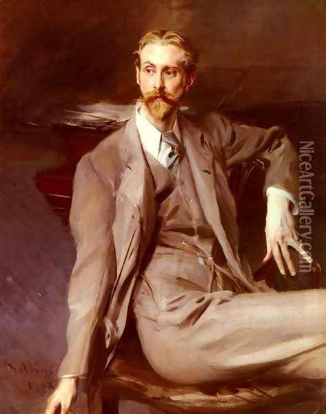 Portrait Of The Artist Lawrence Alexander (Peter) Harrison 1902 Oil Painting - Giovanni Boldini