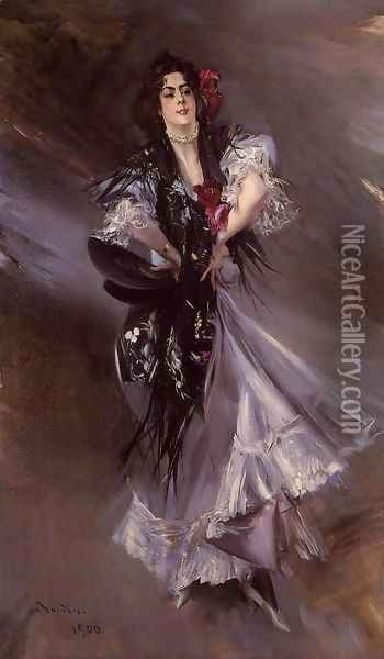 Portrait Of Anita De La Ferie The Spanish Dancer Oil Painting - Giovanni Boldini