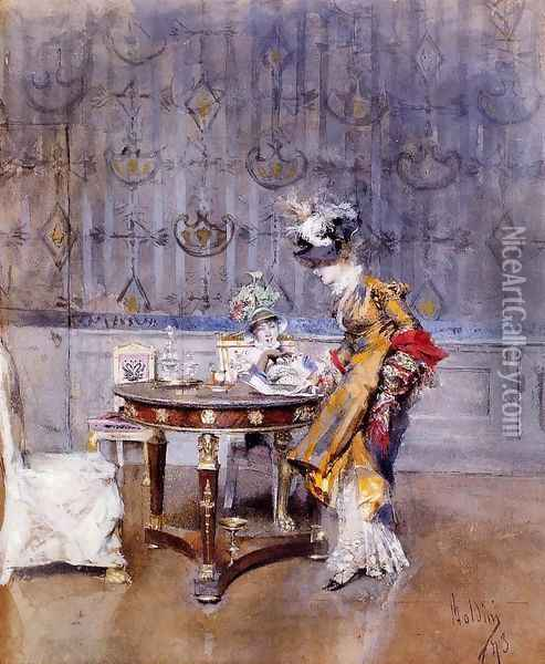 The Letter Oil Painting - Giovanni Boldini