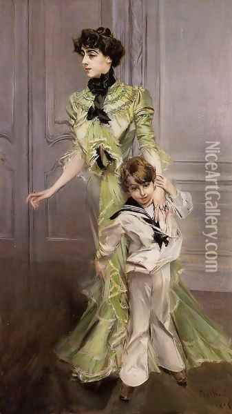 Portrait Of Madame Georges Hugo (nee Pauleen Menard Dozian) And Her Son Jean Oil Painting - Giovanni Boldini