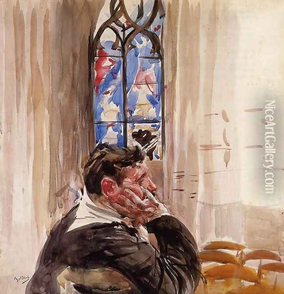 Portrait Of A Man In Church Oil Painting - Giovanni Boldini