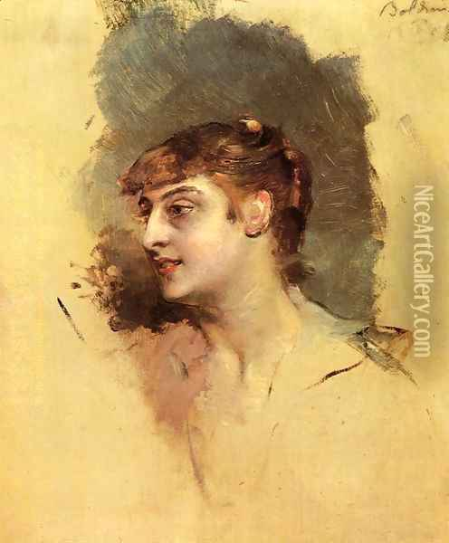 Portrait of a Lady Oil Painting - Giovanni Boldini