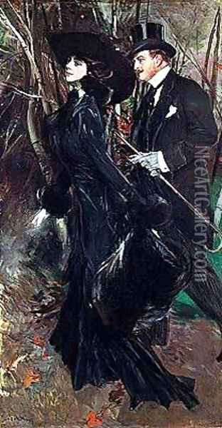 Walking in the Bois de Boulogne Oil Painting - Giovanni Boldini