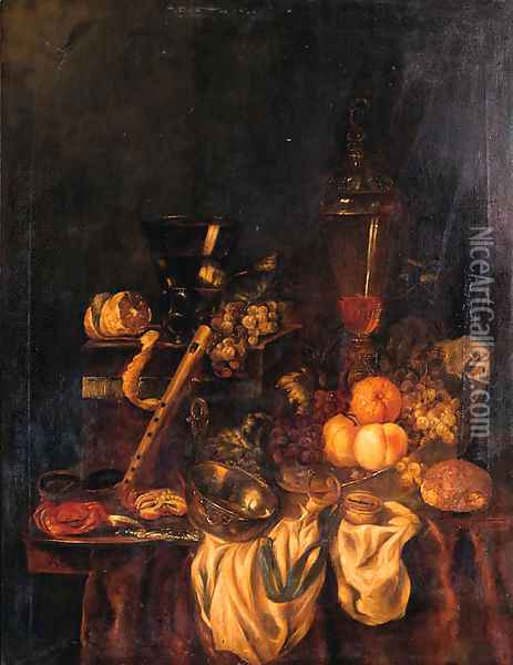 A Berkemeyer, Grapes And A Peeled Lemon On A Jewelry Box, Peaches, An Orange And Grapes In A Wan-Li Dish, Crabs And A Knife On A Pewter Plate Oil Painting - Abraham Hendrickz Van Beyeren