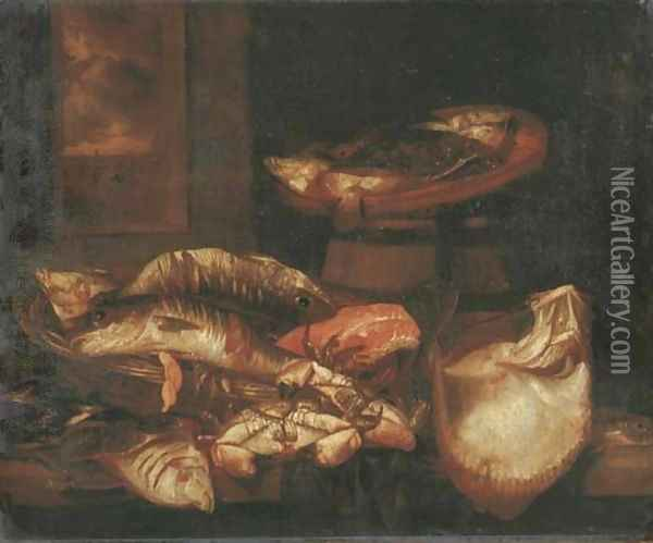 A ray, a salmon steak, crabs and other fish in a basket on a wooden ledge before a window Oil Painting - Abraham Hendrickz Van Beyeren