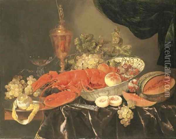 A lobster with grapes and a peach in a Wan-li 'kraak' porselein bowl, a silver-gilt cup and cover, a facon-de-Venise wine glass, a melon, a knife Oil Painting - Abraham Hendrickz Van Beyeren