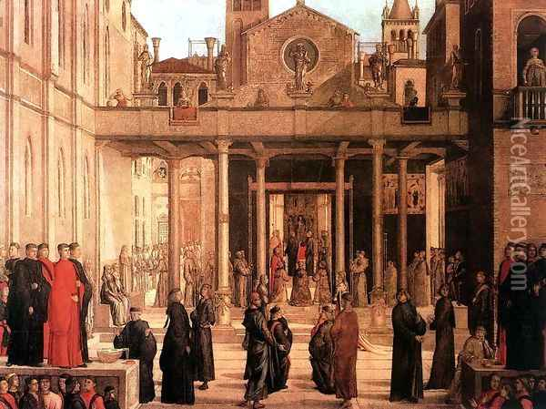 The Relic Of The Holy Cross Is Offered To The Scuola Di S. Giovanni Evangelista 1494 Oil Painting - Lazzaro Bastiani
