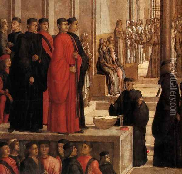 The Relic of the Holy Cross is offered to the Scuola Grande di San Giovanni Evan Oil Painting - Lazzaro Bastiani