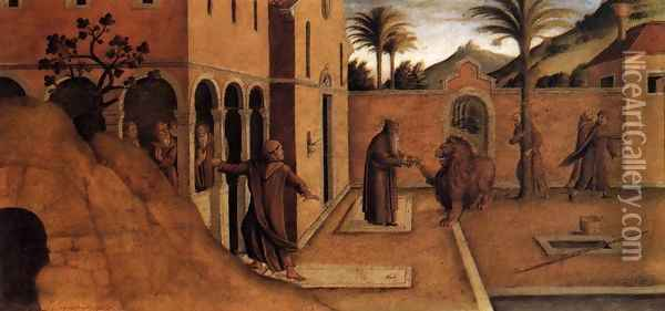 St Jerome Bringing the Lion to the Convent Oil Painting - Lazzaro Bastiani